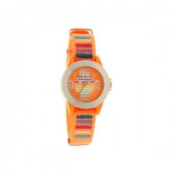 Montre LITTLE MARCEL ref LM37, cad orange, brac nylon orange