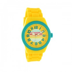 Montre LITTLE MARCEL ref LM38, cad jaune, brac silicone jaune