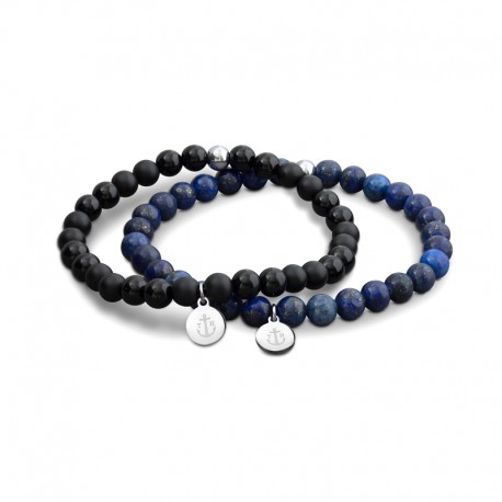 Laguna double BR Black&Blue beads