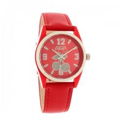 Montre LTC ref TC14, cad rouge, brac cuir rouge