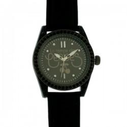 Montre LTC-TC18, cad tout noir, pierres noires, brac cuir noir