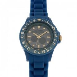 Montre LTC, ref 53, cad bleu, brac silicone bleu-5ATM