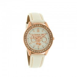 Montre LTC ref TC54 rosegold small, cad blanc, brac cuir blanc