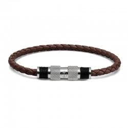 BR SILVER LEATHER BROWN TWINE BLK L