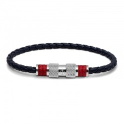 BR SILVER LEATHER BLUE TWINE RED L