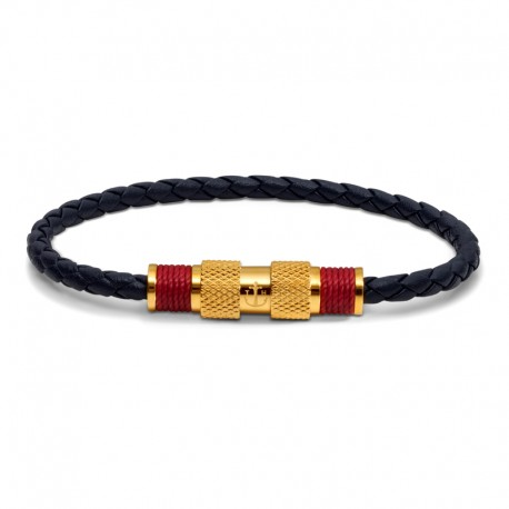 BR GOLD LEATHER BLUE TWINE RED S