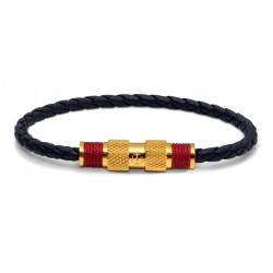 BR GOLD LEATHER BLUE TWINE RED M