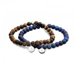 Laguna double BR Brown&Blue beads