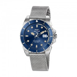 450 41MM 3H BLUE DIAL MESH BAND SS